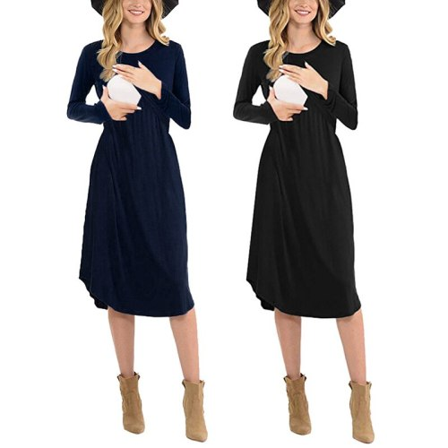 Spring and autumn new solid color nursing maternity dress long-sleeve round neck comfortable dress