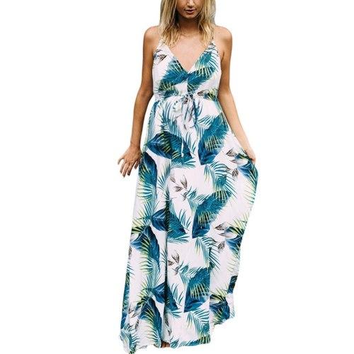 Women's Floral Sleeveless Loose Maternity Dresses Suspender Leaf Print Dress Pregnancy Summer Breastfeeding Pregnant Clothes