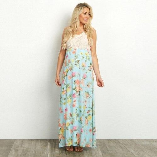 Summer Women's Sleeveless Lace Stitching Round Neck Dress Printing Vest Pregnant Women Loose Dress Female Maternity Clothings