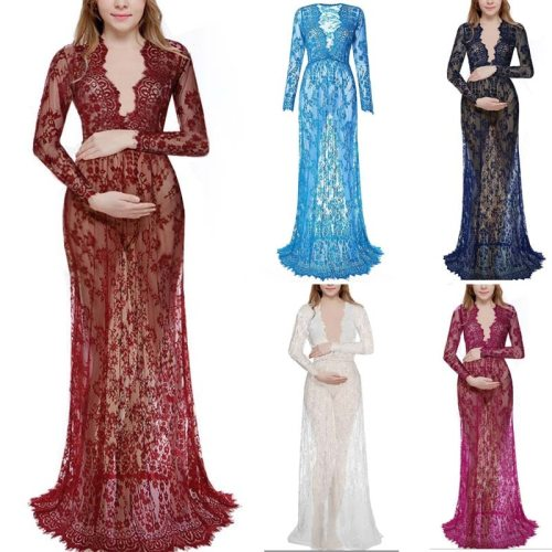 2021 Maternity Lace Dress Maternity Photography props Clothing For pregnant women Maxi Fancy Shooting Photo pregnancy dress