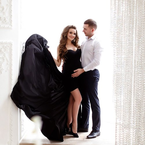 Sexy Maternity Dress For Photography Front Split Pregnancy Photo Shooting Maxi Dress Pregnant Women Robe Lady GownsEvening Party