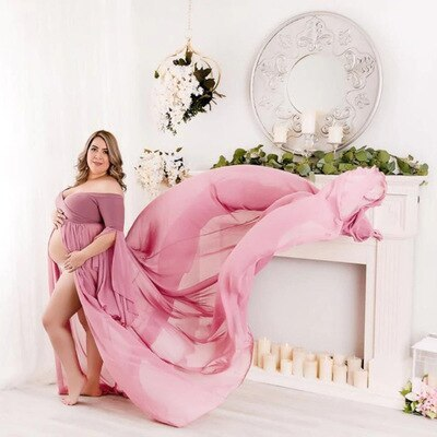 Split Front Maternity Dress for Baby Shower Shoulderless Pregnancy Maxi Gown Dress Photography Pregnant Women Photo Shoot Props