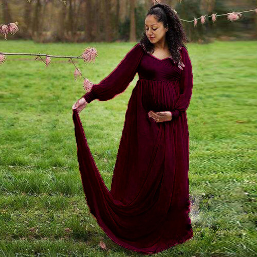 Sexy V Neck Pregnancy Dresses Photography Long Sleeve Wine Red Maxi Gown Chiffon Maternity Dresses for Photo Shoot Baby Shower