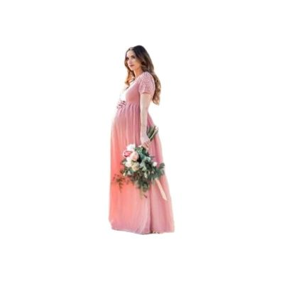 New Women's Pregnant  Wedding Maternity Photography Maxi Gown Tailing Dress Photo Shoot Pregnancy Casual Lace Stitching Dress