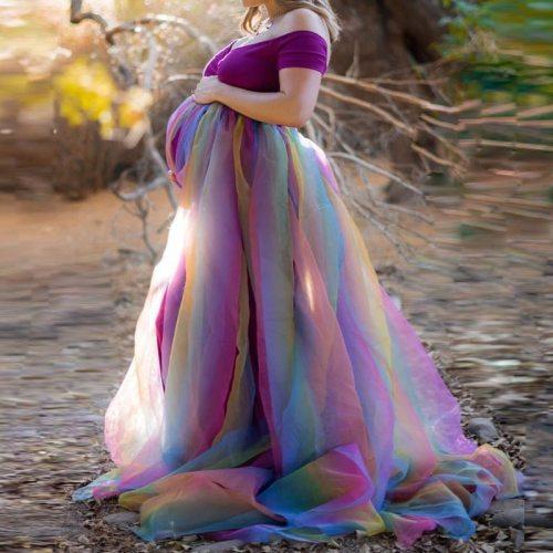 2021 Rainbow Tutu Dresses Maternity Photography Props Pregnancy Dress Photography  Maternity Dress For Photo Shoot Maxi Dress