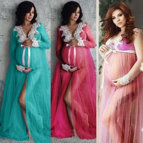 New Sexy Maternity Dresses For Photo Shoot Lace Tulle Long Pregnancy Dress Photography Prop Split Front Pregnant Women Maxi Gown
