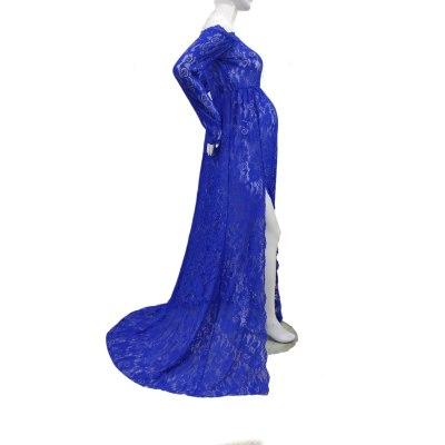 Women's Lace Neck Lace Slit Tailing Pregnant Women Photo Photo Memorial Book Elegant One-Piece Long Skirt Photography Dress