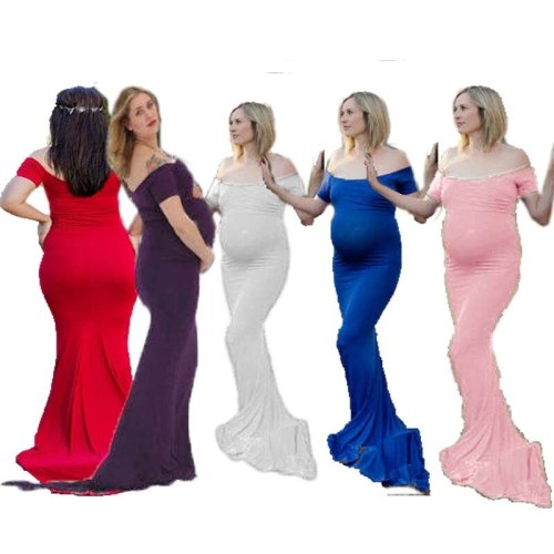 Shoulderless Maternity Dresses For Photo Shoot Clothes Maternity Photography Props Pregnancy Dress Photography Maxi Vestidos