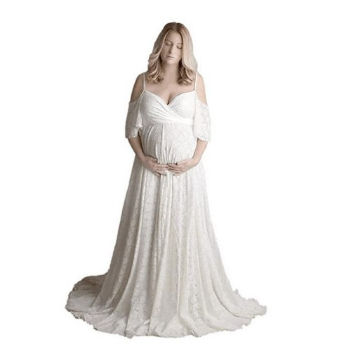 Lace Maternity Dresses For Photo Shoot Sexy V neck Pregnancy Dress Photography Props Elegence Pregnant Women Maxi Maternity Gown