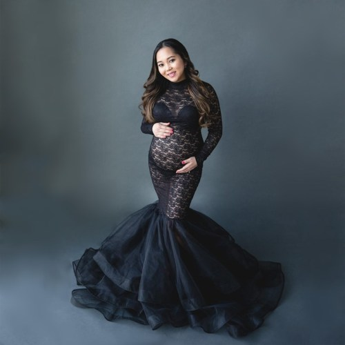 Maternity Tulle Photography Dresses Outfit Stretchy Fitting Pregnant Woman Tutu Dress For Photo Shoot Pregnancy Lace Tulle Dress