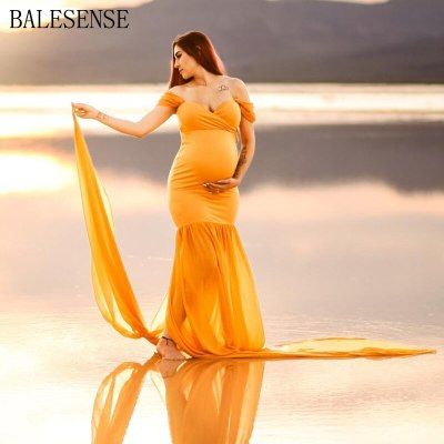 Maxi Maternity Gown Pregnancy Dress Photography Props Maternity Dresses for Photo Shoot Sexy Off Shoulder Pregnant Woman Clothes