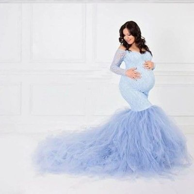 Sexy Lace Shoulderless Pregnancy Dress Photography Props Maxi Gown splice Mesh Maternity Dresses For Photo Shoot Clothes