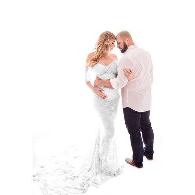 Maternity Photography Props Pregnancy Fancy Dress Lace Robe Strapless Maxi Gown Maternity Dress Split Front Women Long Dress