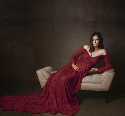 Long Maternity Dresses For Photo Shoot Sexy Lace Fancy Pregnancy Dresses Flare Sleeve Pregnant Women Maxi Gown Photography Props