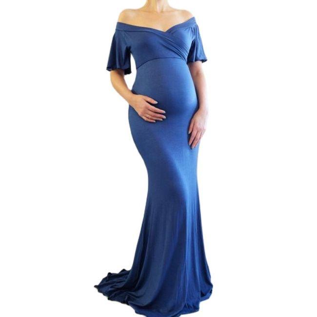 New Maternity Cotton Ruffle Dresses Photo Shoot Shoulderless Maxi Pregnancy Women Dress Photography Props Dresses Pregnant