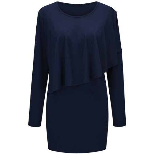 Maternity Blouse Ruffles Tops Womens Nursing Solid Color Long Sleeve Round Neck Breastfeeding Blouse Pregnant Casual Blouse