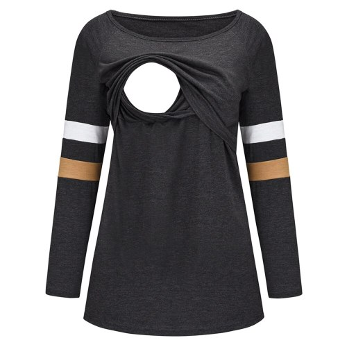 2021 new European and American fashion multifunctional solid color stitching long-sleeved mother nursing clothes