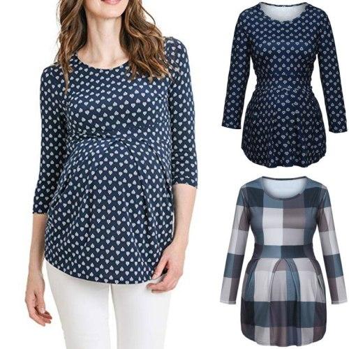 Maternity Clothes Pregnant Women o-neck Cross Long Sleeve Breastfeeding Clothing Pregnancy T Shirt