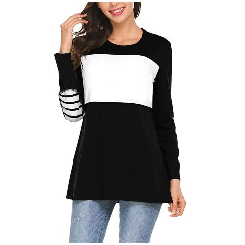 2021 spring new European and American pregnant women solid color stitching long-sleeved breastfeeding top T-shirt