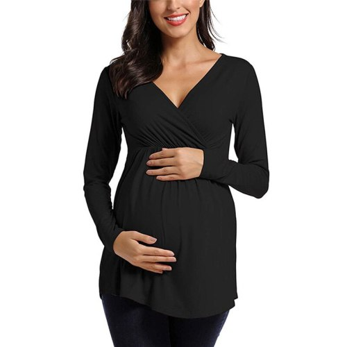 Maternity Clothes Long Sleeve Nursing T-Shirt Breastfeeding Blouse Tops New Pregnant Women Solid Pregnancy Clothings Plus Size