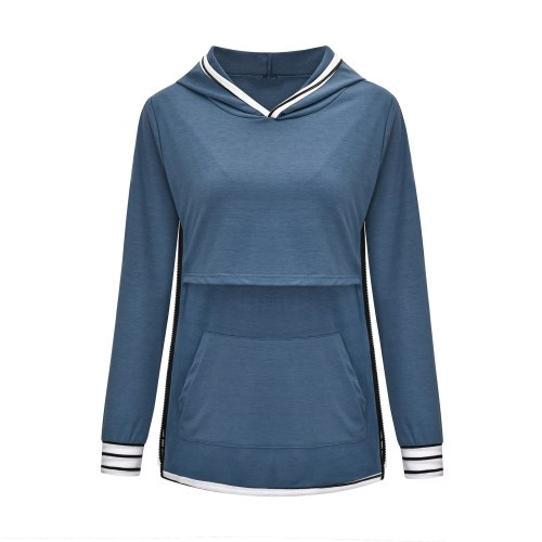 2021 new European and American fashion multifunctional solid color stitching mother breastfeeding clothes