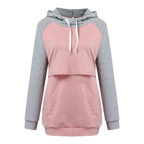 Winter Warm Nursing Maternity Hoodies Long Sleeve For Pregnant Women Breastfeeding Pregnancy Hooded Tops Solid Color Sweatshirt