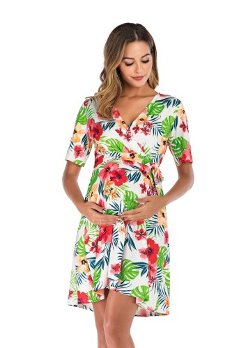 2021 New Fashion Boho Women Pregnant Maternity Nursing Floral Breastfeeding Summer Long Dress beach clothes for pregnant women