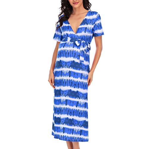 Maternity Dresses Summer V-neck Short-sleeved Belt Printed Maternity Dress For Women Ladies Fashion Casual Pregnancy Dress