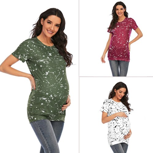Summer Maternity T-shirt Women Clothing Fashion O-neck Short Sleeve Pregnant Tops Pregnancy Clothes T Shirts Letter Tees Premama