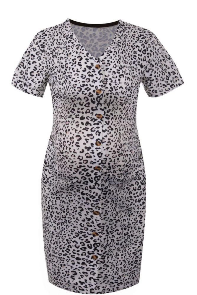 2021 Pregnant Women Dresses Maternity Clothes Casual Leopard V-neck Breastfeeding Nursing Dress Pregnancy Clothing robe femme