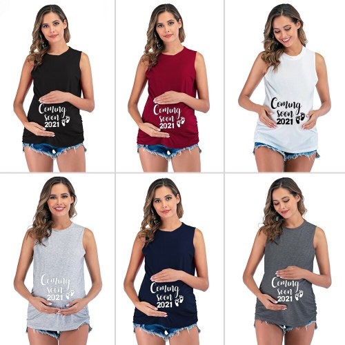 2021 Coming Soon Printed Maternity T shirt Vest Tank Tops Clothes for Pregnant Women Funny Casual Summer Pregnancy Tees T-shirt