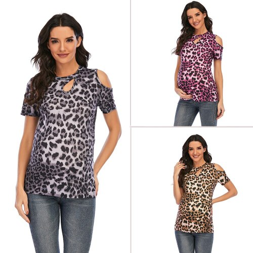 2021 Women's Maternity T-Shirt Clothes for Pregnant Women Plus-Size Summer O-Neck Short Sleeve Leopard Printed Pregnancy Tops