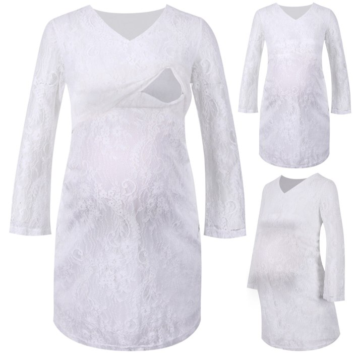 Women Maternity Dresses Clothes Long Sleeve Breastfeeding Casual Lace Dress Fall Fashion Pregnant Pregnancy Clothing vestidos