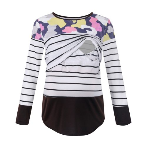 Strip Print Tees For Maternity Wear Long-sleeved Casual Daily Color Matching Breastfeeding T-shirt Nursing Breastfeeding Clothes