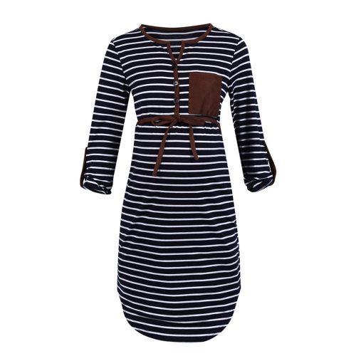 Striped Summer Maternity Dress Autumn Pregnant Women's Adjustable Sleeve V-neck Dress