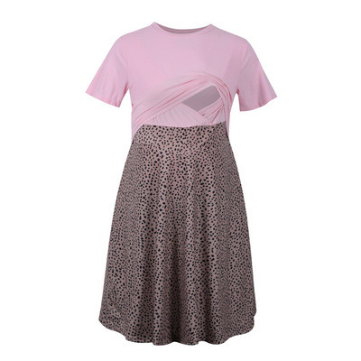 2021 New Maternity Breastfeeding Dress Pink Leopard Patch Dress