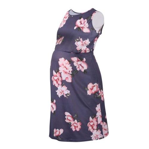 Maternity Woman Floral Printed Sleeveless Dress Summer Pregnant Women Printing O-Neck High Waist Casual Dress