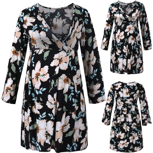 Breastfeeding Clothes Summer Pregnant Women Clothes Pleated Flower Long Sleeve Maternity Casual Dress