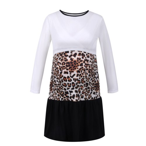 2021 Nursing Dresses Breastfeeding Women Long Sleevele Leopard Print Maternity Breastfeeding Dress