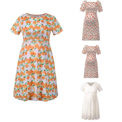 Maternity Dresses Summer Women Pregnant Clothes Pleated Flower Short Sleeve Maternity Casual Dress Ladies Fashion Clothing