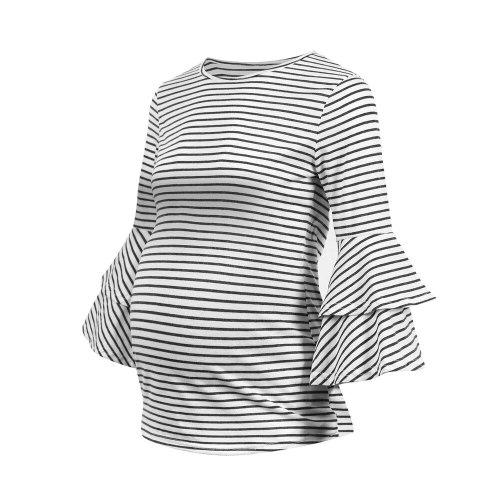 2021 new maternity clothing three-quarter sleeve striped fashion trumpet sleeve pregnancy top T-shirt