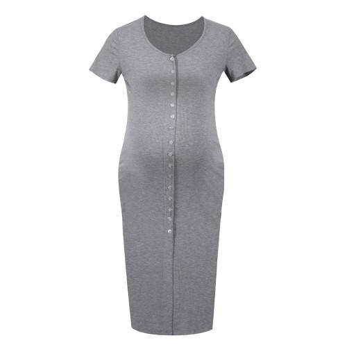 Women Maternity Dress Summer Pregnant Woman Dress Slim Short Sleeve Thread Cardigan Maternity Dress vestidos Pregnancy Clothes