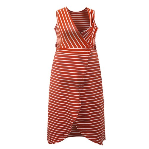 Sleeveless Breastfeeding Dresses Summer Maternity Clothes V-Neck Striped Belt Dress Nursing Dress Clothes For Pregnant Women
