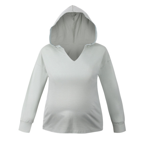 2021 Maternity Tops Pure Color Cotton Hoodies
