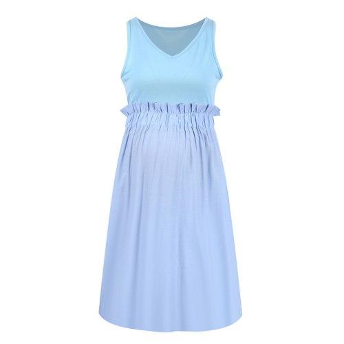 2021 Summer dress pregnant women's dresses Sleeveless pleated waist solid stitched V-neck maternity dress robe femme Female