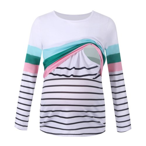 Striped Splicing Breastfeeding T-shirt Maternity Pregnancy Women Long Sleeve Maternity Tops Ladies Pregnancy Round Neck Daily