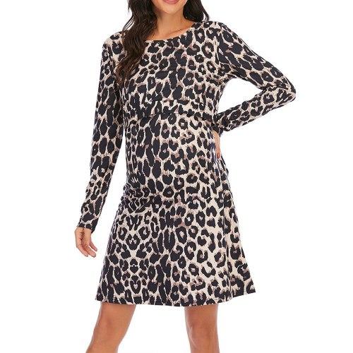 Maternity Nursing Dresses Pregnancy Clothes Women Leopard Print Long Sleeve O Neck Spring Autumn Maternity Dress