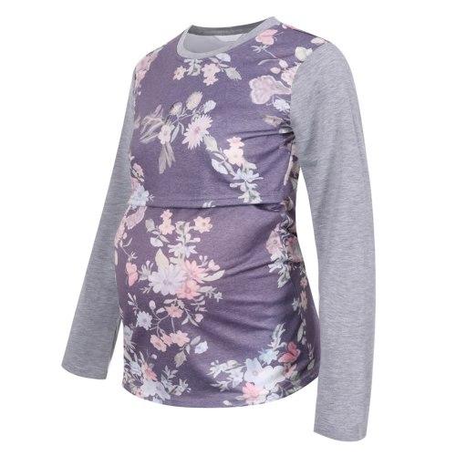 Pregnancy Clothing For Women Vintage Print Splicing Long Sleeves O-neck Breastfeeding Pregnancy Women's T-shirt Nursing Clothes