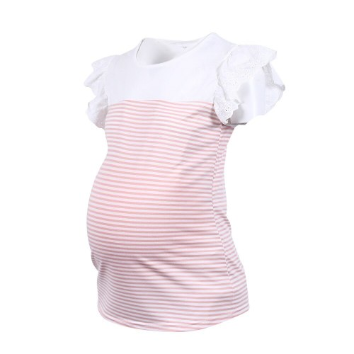 Summer Maternity T-shirt Striped O-neck Casual Shirts for Pregnant Woman 2021 New Ruffle Sleeve Pregnancy Tops Clothes