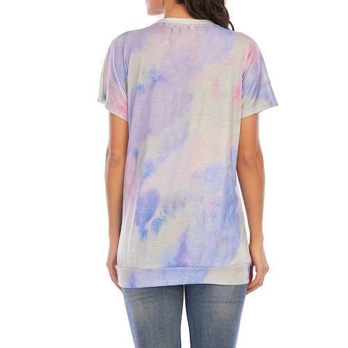 Maternity Clothes Women T Shirt Tie Dye Print Top Summer Maternity Tees Short Sleeve O Neck Pregnancy Women Tops
